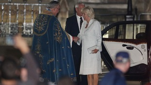 The Very Reverend Dr John Hall, Dean of Westminster, greeting The Duchess of Cornwall as she arrives for a candle lit prayer vigil.