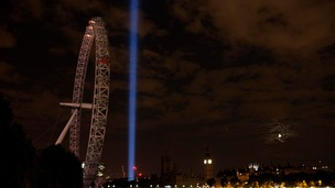 Normally lit up in different colours, the London Eye was in darkness on Monday night.