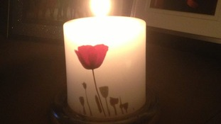 Natasha Donald lit a poppy candle at 10pm.