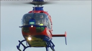 The woman was airlifted to hospital after the accident