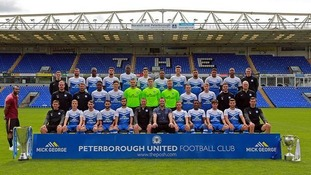 Peterborough United release picture of Ashley Cole sneaking into their team photo