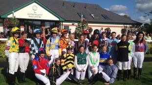 The all female jockey line-up at yesterday's event