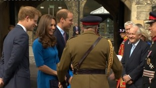 The royal trio chat to staff at the Tower.