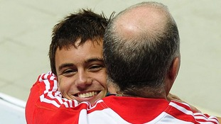 Tom Daley with Andy Banks at the 2010 Commonwealth Games