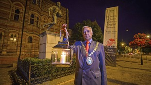 The Mayor of Rugby, Cllr Ramesh Srivastava, at the Lights Out ceremony at the Webb Ellis Statue.