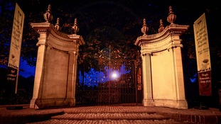 A single lantern was placed on the War Memorial gates at Whitehall Recreation Ground during the Lights Out ceremony.