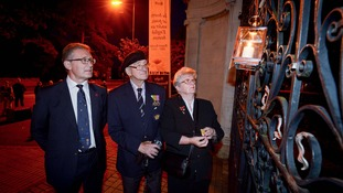 Mark Pawsey, MP for Rugby, Reg Foster and Eileen Dunn, of the Bilton branch of the Royal British Legion