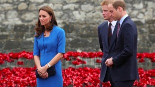 The Duke and Duchess of Cambridge view the Tower of London's 'Blood Swept Lands and Seas of Red'.
