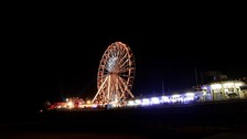 Blackpool lit up at night