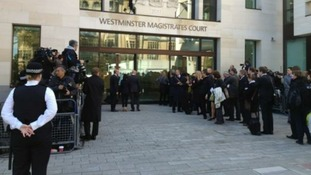 Queue of journalists waiting for Rebekah Brooks court hearing this morning