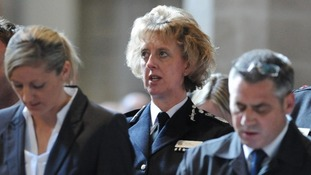 Northumbria Police Chief Constable Sue Sim (Centre) at memorial service for Pc David Rathband
