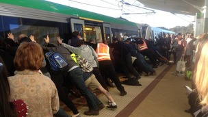 Passengers started pushing the train in Australia.