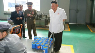 Kim Jong Un smiles as he expects a batch of lubricant.