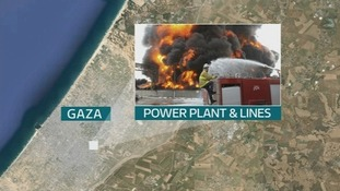 The Gaza Strip's only power plant has also been destroyed along with six of the 10 power lines.