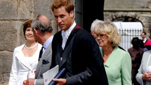 Prince William with his father, Prince Charles, and the Duchess of Cornwall leaving William's graduation ceremony.