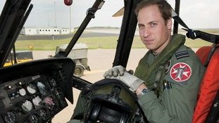 The Duke of Cambridge at the controls of a Sea King helicopter.