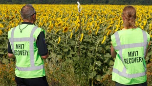 Forensic experts look at a makeshift marker denoting evidence during recovery work at the site of the downed Malaysian airliner MH17.