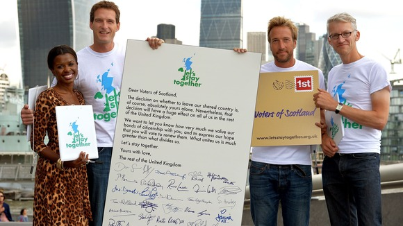 June Sarpong, Dan Snow, Ben Fogle and Tom Holland with the Letter to Scotland.
