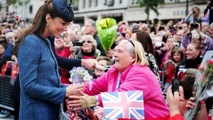 The Duchess of Cambridge meets members of the public during a visit to Market Square