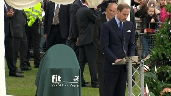 Prince William giving speech on 'Fields in Trust' charity