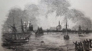 From the church, ships could be seen on the River Thames, sometimes firing cannons.