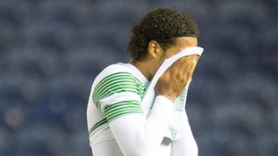 Celtic's Virgil Van Dijk looks dejected during the Champions League match against Legia Warsaw.
