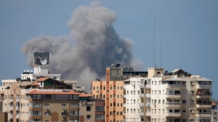 Smoke rises following what witnesses said was an Israeli air strike in Gaza City.