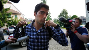 Luis Suarez arrives for a hearing at the Court of Arbitration for Sport today.