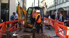 Transport minister Norman Baker launches Birmingham's tram extension