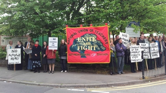 Nottinghamshire secondary school are today beginning a two-day strike over plans to turn it into an academy. 