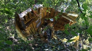 The interior of the wreckage, which is believed to be part of the economy section of the plane.