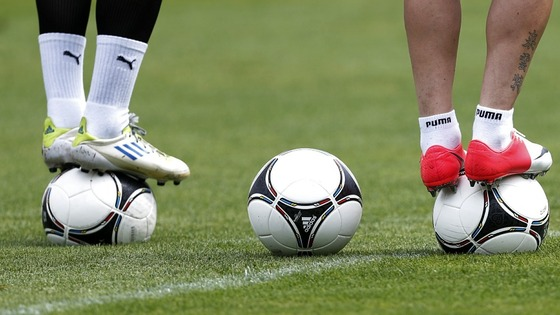 Czech Republic players balance on balls during training in Wroclaw ahead of their final Group A game.