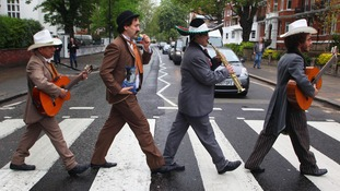 A Mexican Mariachi band with an English twist brave the London weather at Abbey Road