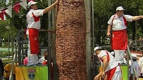 The largest doner kebab in the world has been unveiled in Turkey.