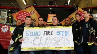Firefighters on strike at Soho Fire Station in June this year