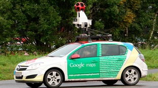 The driver of a Google Street View car similar to this one, crashed after going the wrong way down a one way street.