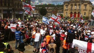 Around 200 EDL supporters attend a rally in Batley