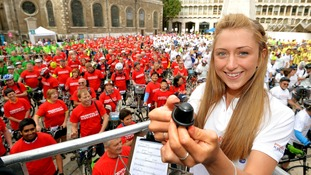 Cyclists taking part in the world record attempt