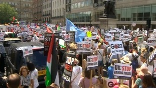 Thousands of people marched through London to protest at the bombing of Gaza.