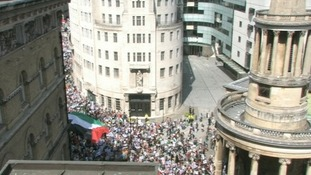 Marchers outside Broadcasting House.