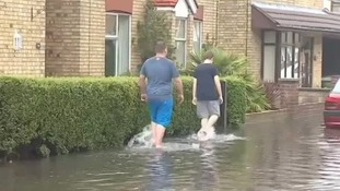 Floods in Cambridgeshire yesterday.