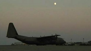A RAF C-130 cargo plane that dropped aid into northern Iraq.