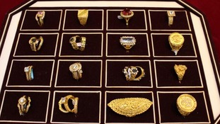 A tray of rings similar to those stolen