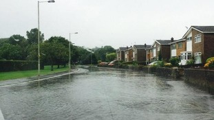 Flooded road in Bridgend