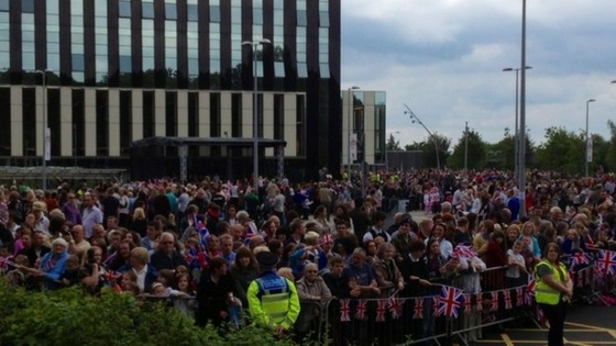 Thousands waiting in Corby to see the Queen where she will end her day