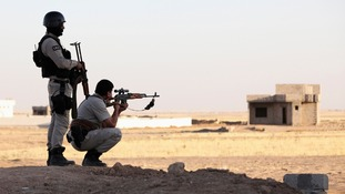 Kurdish Peshmerga troops participate in an intensive security deployment against Islamic State militants.