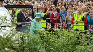 Thousands welcomed the Queen to Corby this afternoon