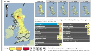 Amber warning for rain issued over Scotland.