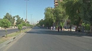 Roadblocks have forced traffic from the streets of Baghdad.