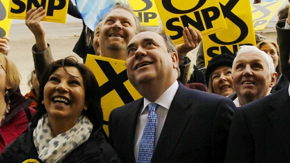 The leader of the Scottish National Party poses with supporters
